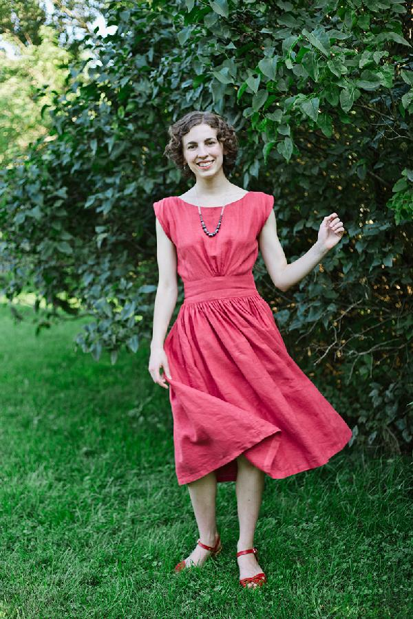 Brigid , A simple summer dress made from ILO19 in English Rose. The dress is simple, shaped rectangles sewn t...