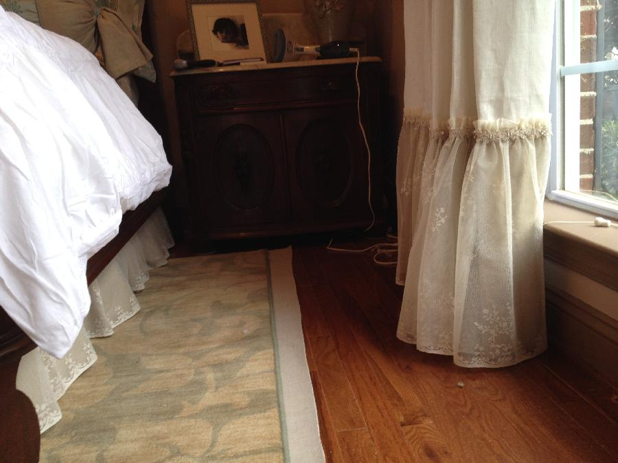 Terry, Goblet pleat drapery panels made with Bleached White linen (top) and Natural linen (bottom) with a l...