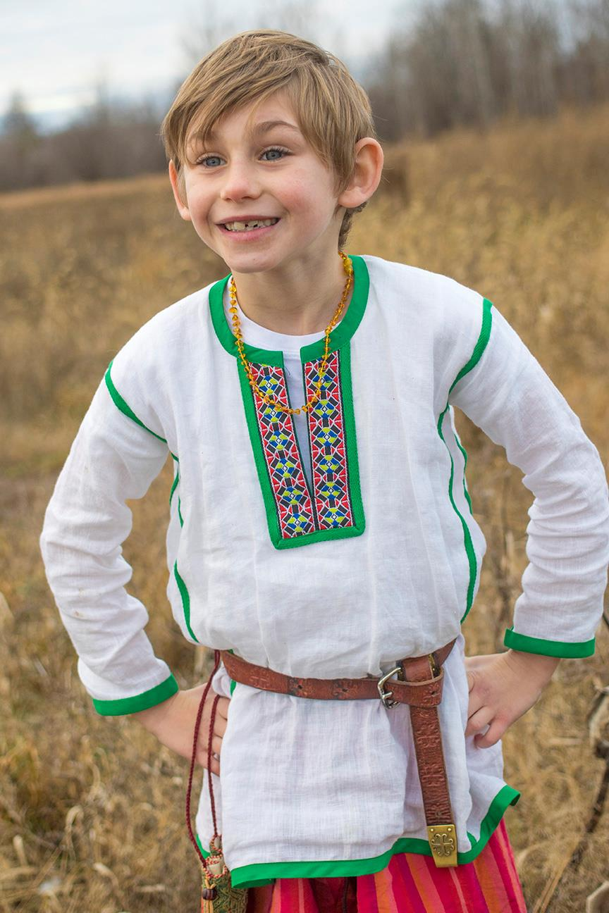 Elise, Ukrainian-style shirt.  He wanted to look like the character Nicki in Jan Bretts book, The Mitte...