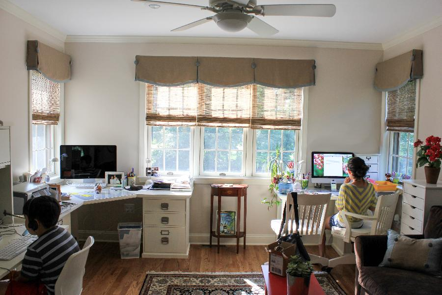 Sharon, This is a full view of my clients office with the linen valances and faux wood blinds.  You can eve...