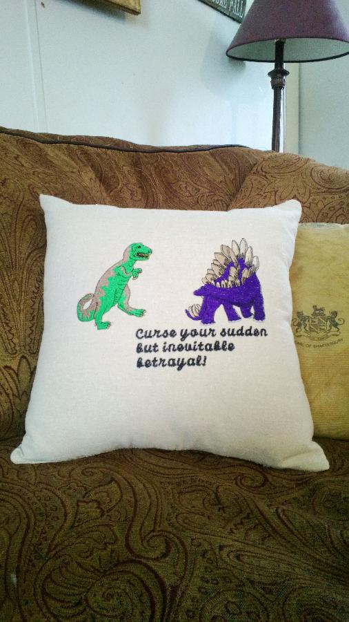 Dianne, Firefly Tribute pillow. Machine embroidered on linen.