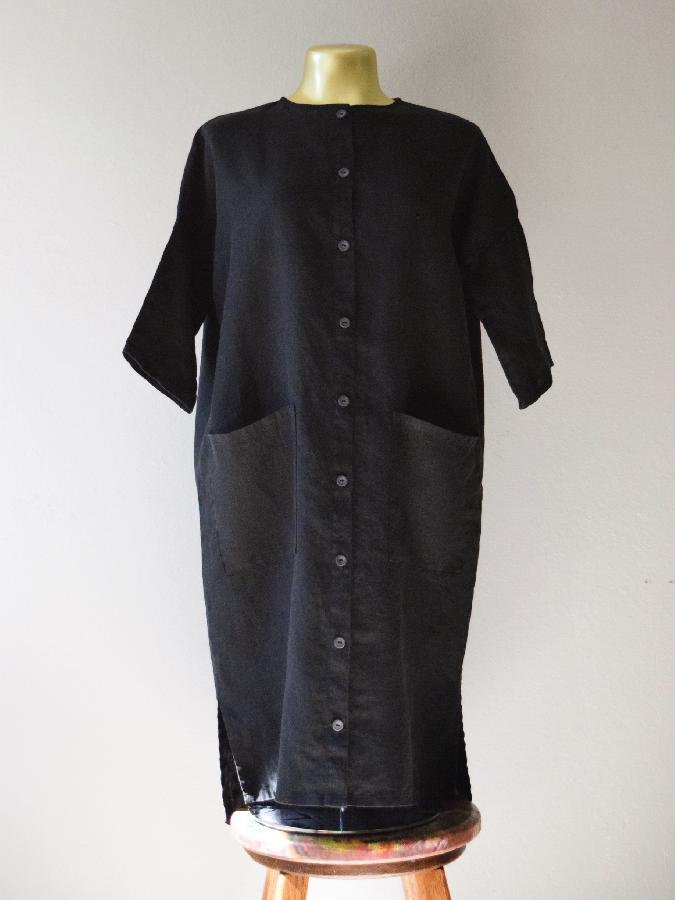 Randee, Button-up dress / jacket made with medium weight black linen + slate gray buttons. 