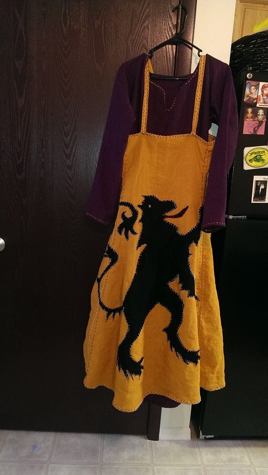 Angela, 100% linen Viking dress ensemble will wool lion applique. Designed, sewn, and embroidered by myself....