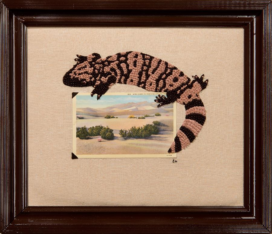 Lucia, I have combined a vintage postcard with my hand-embroidery on linen fabric.  The gila monster is com...