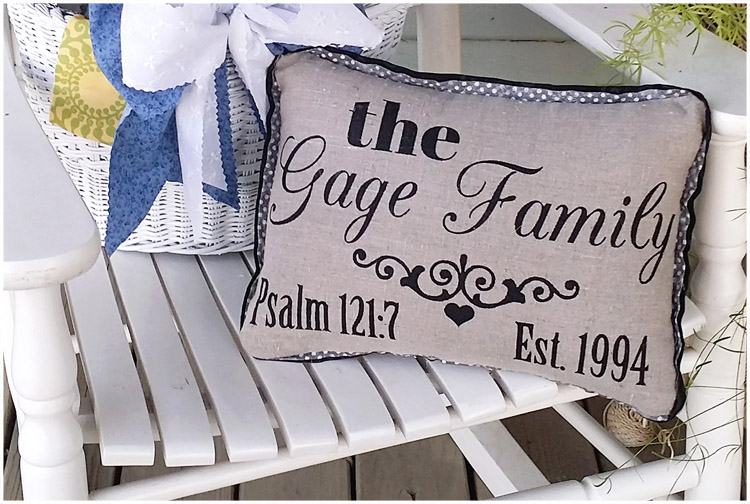 Sharon, Blue Cottage Creations has created a family pillow with the year the marriage was established a the...