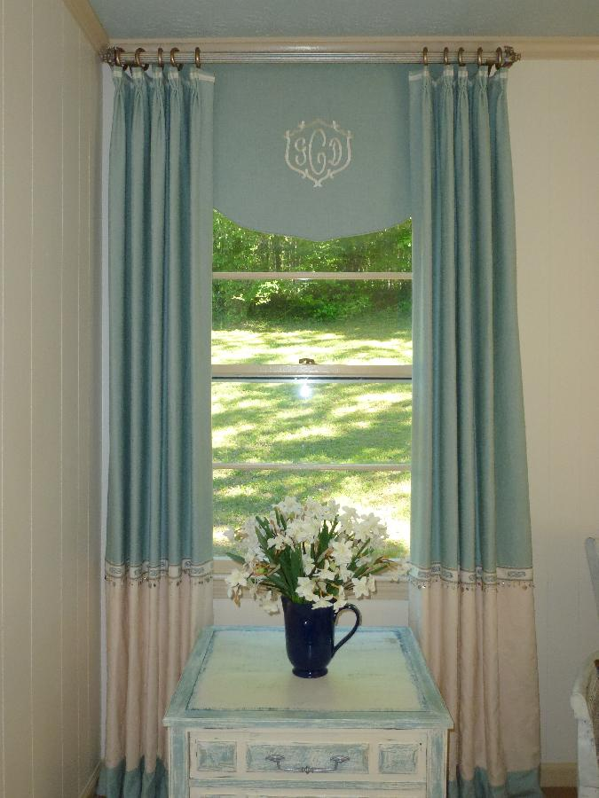 Donna, The window treatments for this room were made in a color blocked style with a washed linen for the p...