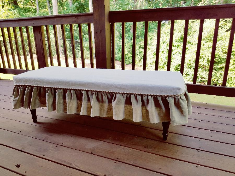 Song, For this bench slip cover I used 7.1 oz white softened for the top and IL020 natural softened for th...