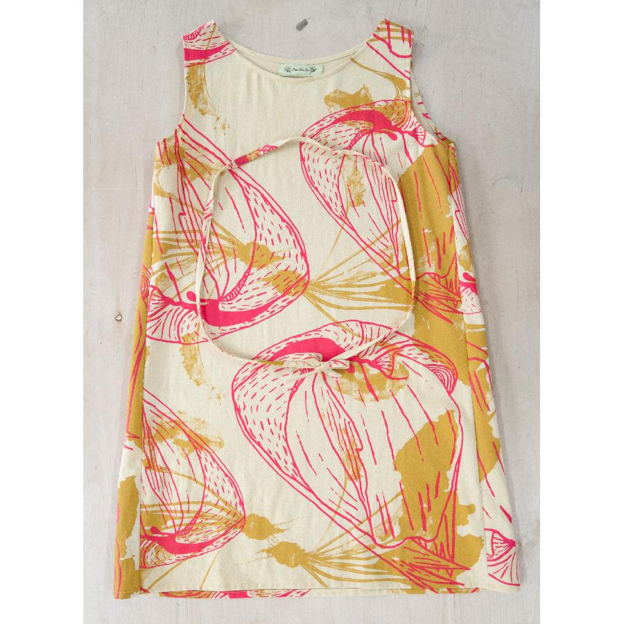 Karin, Linen hand dyed with marigolds.  Silkscreened by hand with pink coconuts and mustard beets.