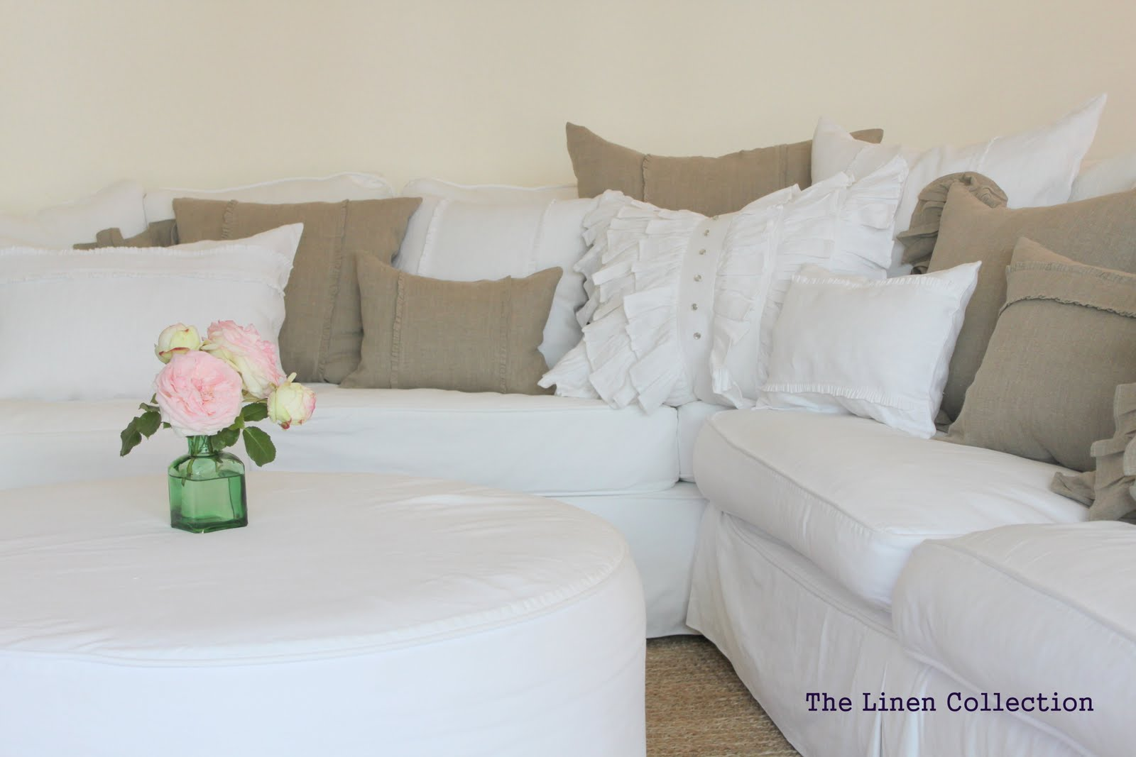 Trish, Collection of linen pillows in various sizes and design details. Simple color palette of natural fla...