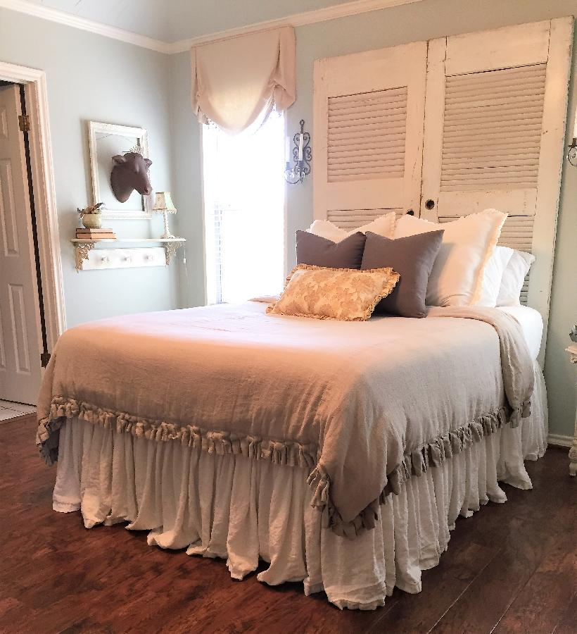 Jill, My queen duvet cover with pleated detail is made from 4C22 in Natural.  The bedskirt is from Bleache...