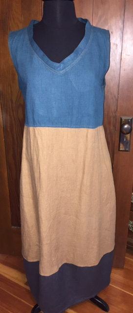 Mary, Long summer dress in Nine Iron, Ginger and Sphinx  middle weight