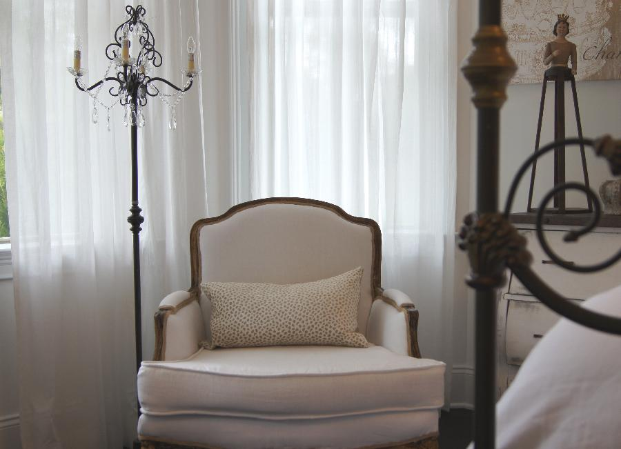 Andrea, Vintage Chair recovered in white linen fabric  for bedroom with white linen bedding.