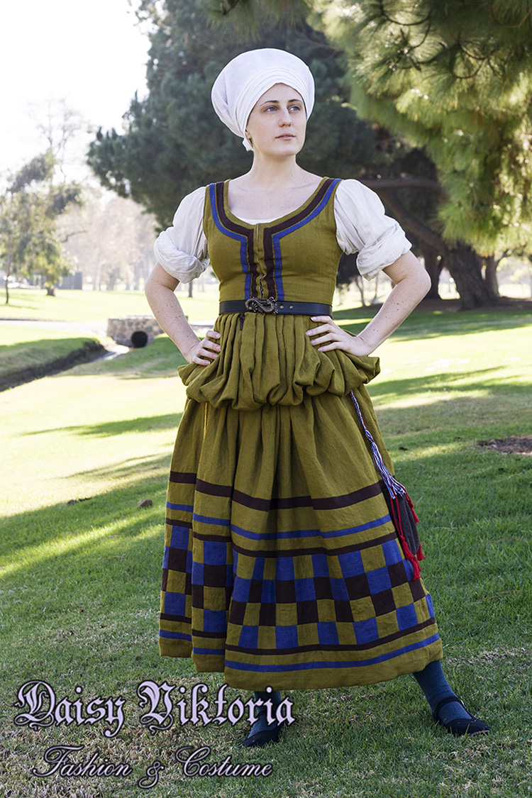 Daisy, I based this dress on an image of a 16th century Ger­man working class woman wearing a dress with th...