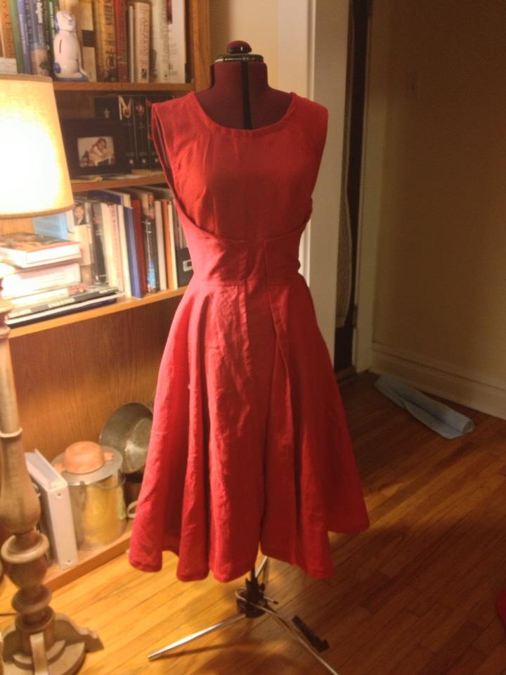 K, I used a bright red linen to make this reproduction vintage dress from a 1950 pattern.  It features...
