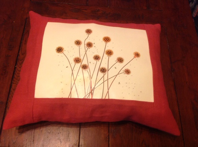 Nancy, I made this pillow with Fabrics Stores Cardinal linen. I used a photograph of Scabiosa, a seed pod,...