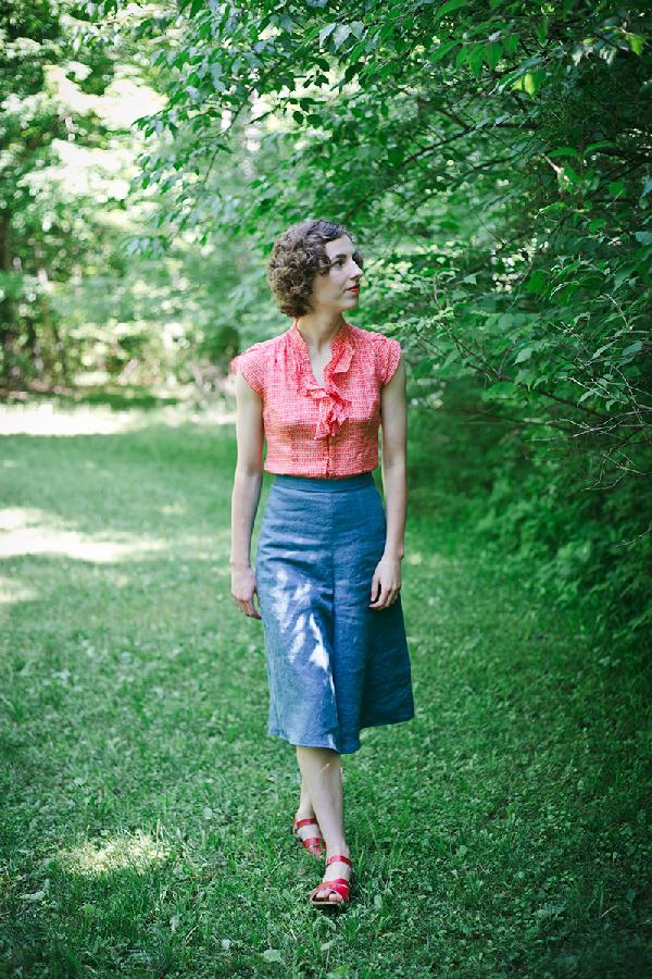 Brigid , Culottes made from ILO19 in Blue Bonnet, from my self drafted Linden Lady Palazzo pants pattern.