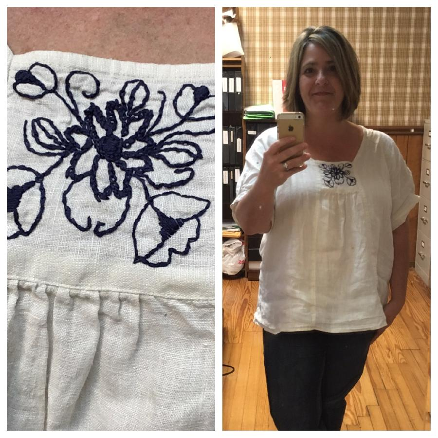Shae, Roza peasant blouse sewn with natural linen 5.3oz weight. Hand embroidered front panel. Another line...