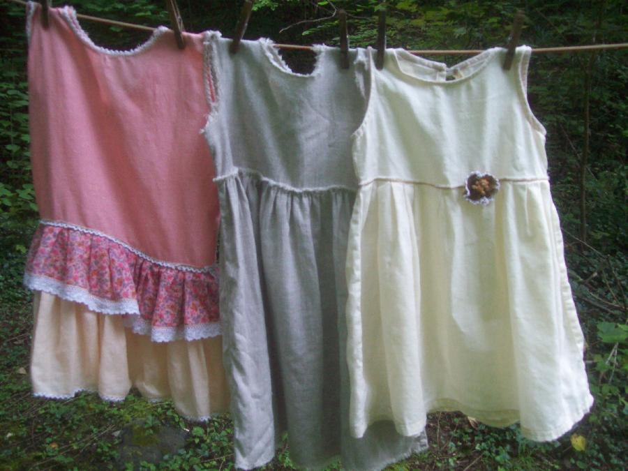 Vickie, Three little girls dresses, size 4, made with. from right to left, Krista natural, 019,  with a tedd...