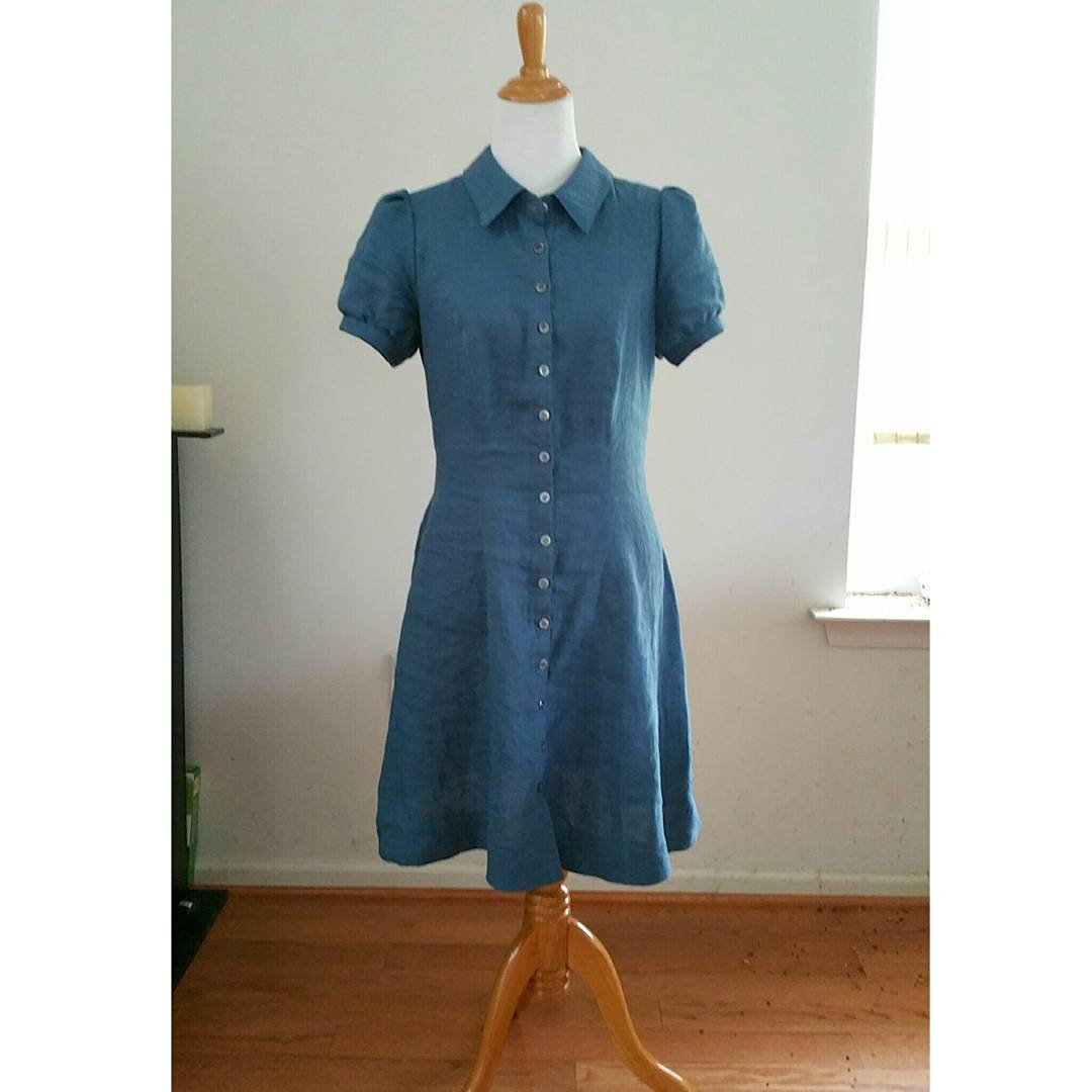Simone, Classic silhouette shirt dress in IL 019 colorway Blue Bonnet with vintage shell buttons