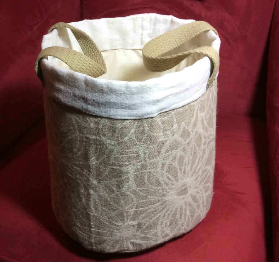 Barbara, Linen buckets for bathroom towels, soaps and guest items.  The jacquard linen used on the main body...