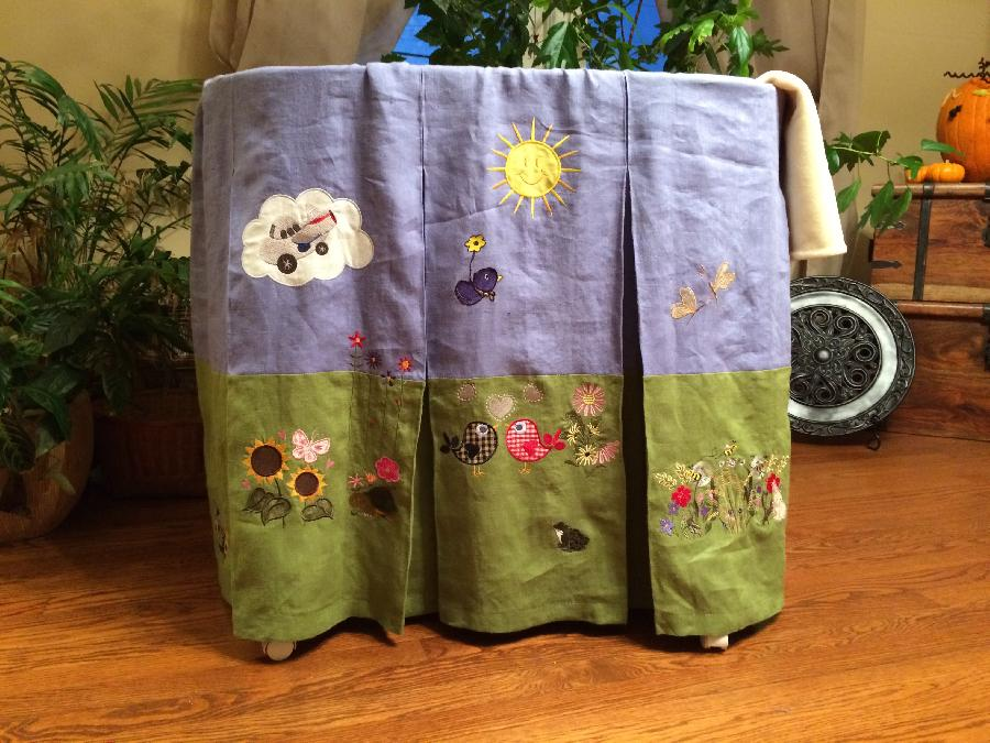 Dottie, This is one side of a bassinet skirt. There are a total of 8 panels, each with a different scene of...