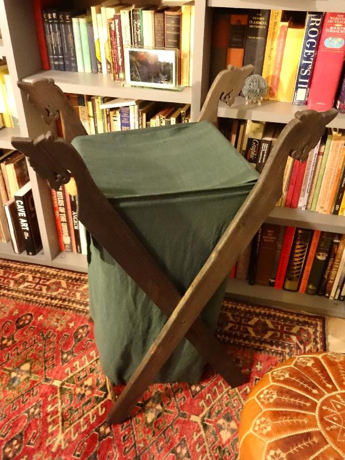 Kira, Viking Laundry Basket realized in medium weight green linen.  Dragon supports are adapted from the O...