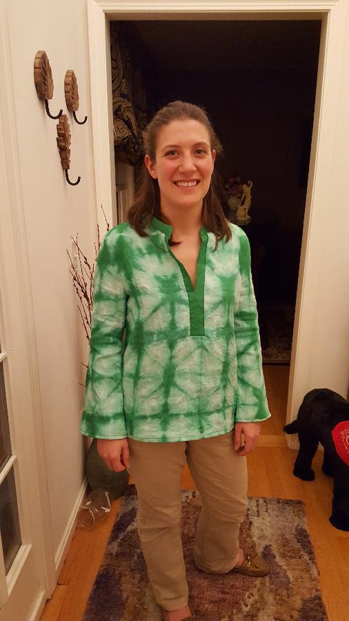 Alexis, This is a shibori dyed linen tunic I made from your il019 medium bleached linen.  It is amazingly co...