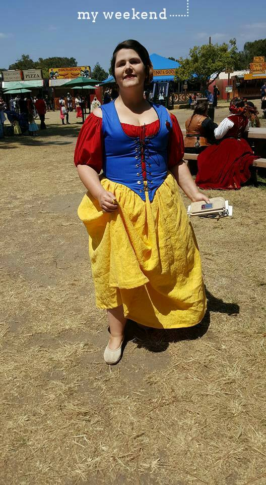 Marie, Garb for Renaissance Faire -- we decided to be Disney wenches.  My skirt is a gorgeous yellow linen...