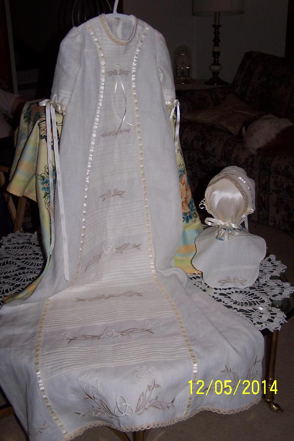 Marceil, Original designed Ayrshire Christening ensemble in your natural handkerchief linen with several pane...