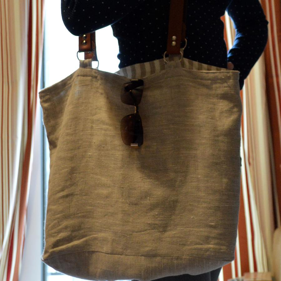 Hollie, A beach bag for my recent beach vacation. Made from mix natural linen and lined with a natural and w...