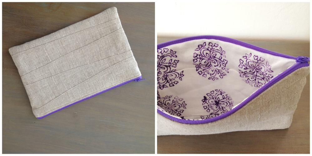 Margaret, This zipper pouch is made from pieced scraps of natural rustic linen on the outside and mid-weight w...
