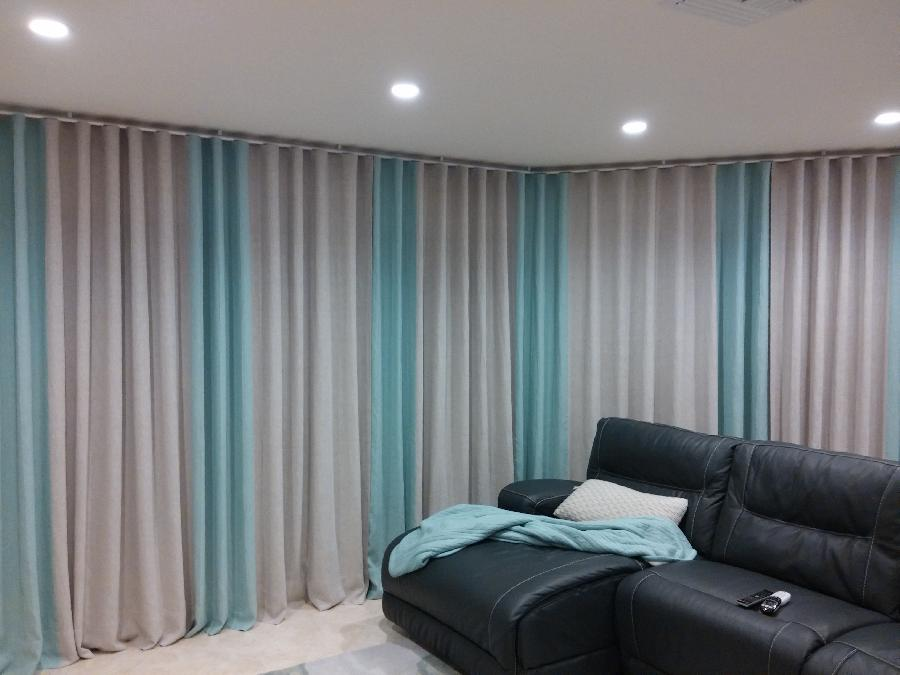 Sandra, Window covering for a combined 12 feet long sliding doors wall. Curtains are made from natural and m...
