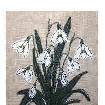 SNOWDROPS - raw edge applique designed and stitched by me using doggie bag linen pieces