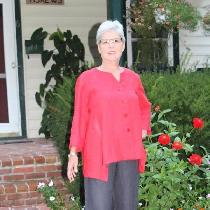 Barbara, Red Linen Top with Gray Linen Capri Pant...
