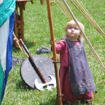 My little Viking.  My Daughter at 2 years old.