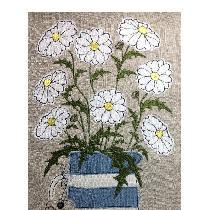 DAISIES - raw edge applique designed and stitched by me using doggie bag linen pieces