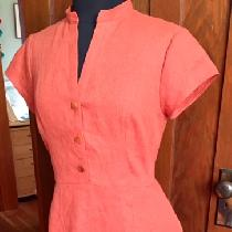Mary, summer dress in Mecca Orange middle weig...
