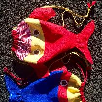 Maria, Children's fish backpacks from linen.Mul...