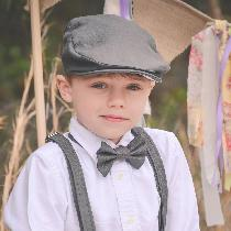 This beautiful four piece set; newsboy hat, bow tie, suspenders and shorts are made from timeles...
