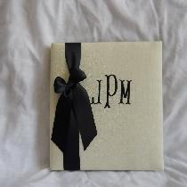 bone linen monogrammed wedding book available at; https://www.waycooldesigns.com
