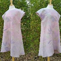 Eco and bleeding tissue paper printed tunic dress with hand stamping.   IL020 BLEACHED - 100% Li...