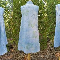 Eco printed and Indigo dyed long vest with fringed edges.  IL020 BLEACHED - 100% Linen - Light....