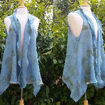 Eco printed and Indigo dyed swing vest.   IL030 BLEACHED Softened - 100% Linen - Sheer.  Butteri...