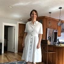 White linen shirt dress.