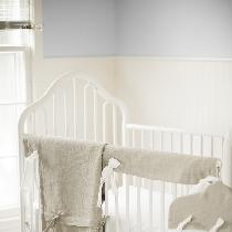 Gender neutral baby bedding with modern farmhouse flair. IL020 in natural and white.