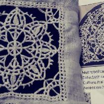 Reticella lace- done by hand- with linen thread based on the extant lace shown on right
