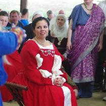 This dress is made with 4C22 CRIMSON Softened and is a variation of one worn by Katherine Parr i...