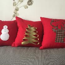 Holiday Home Decor Pillow Covers made from 4C22 Crimson Softened.