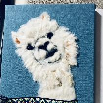 Wool needle  felted alpaca on  torqouise linen L019