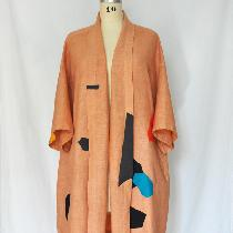 Apparel - This 100% linen robe was hand dyed with yellow onion skin natural dye for a peachy ton...